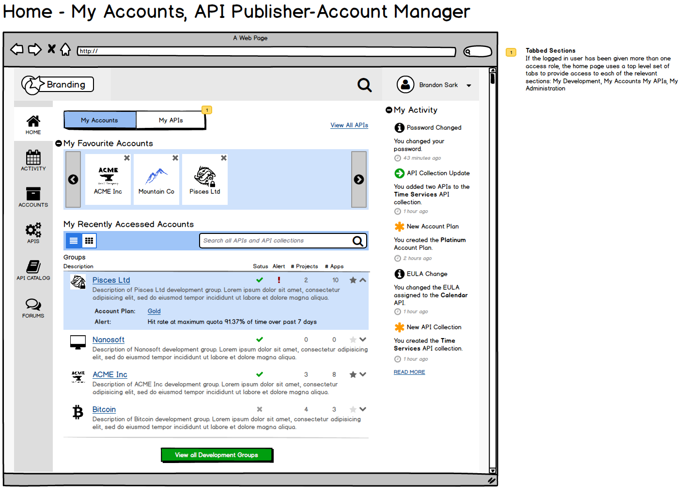 Home Page: API Publisher & Account Manager