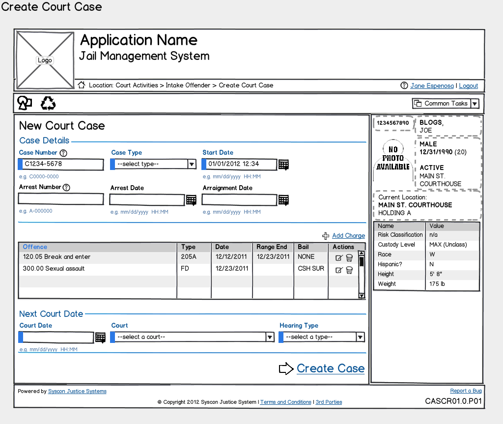 Concept Wireframe: Create Court Case
