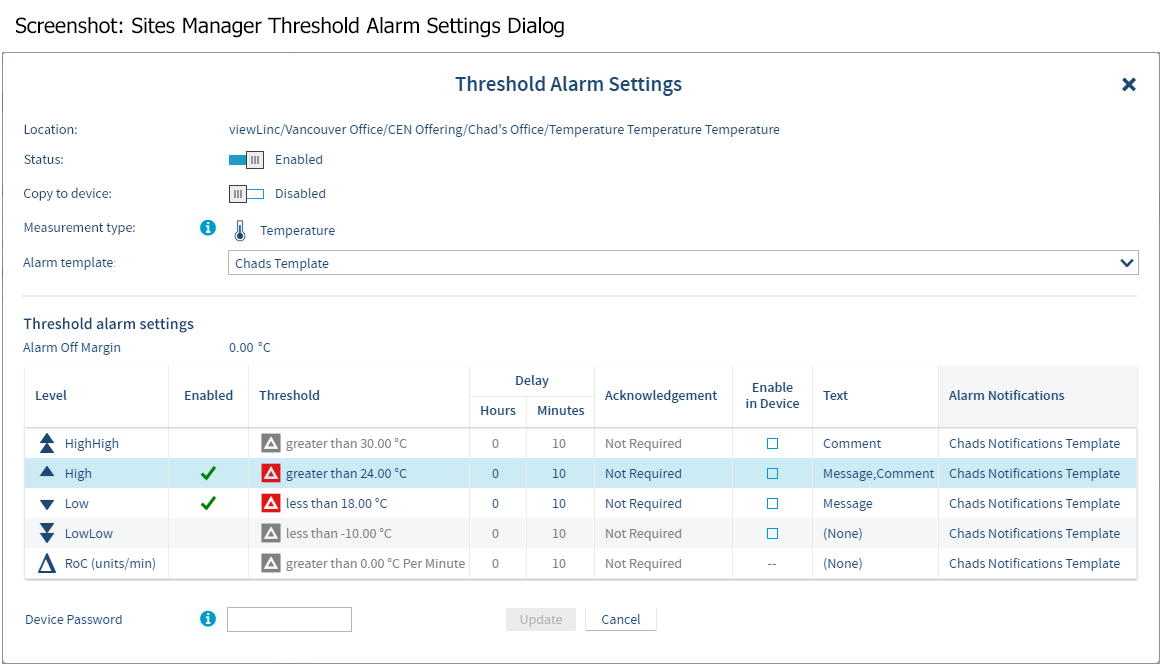 Screenshot: Sites Manager Threshold Alarm Settings Dialog