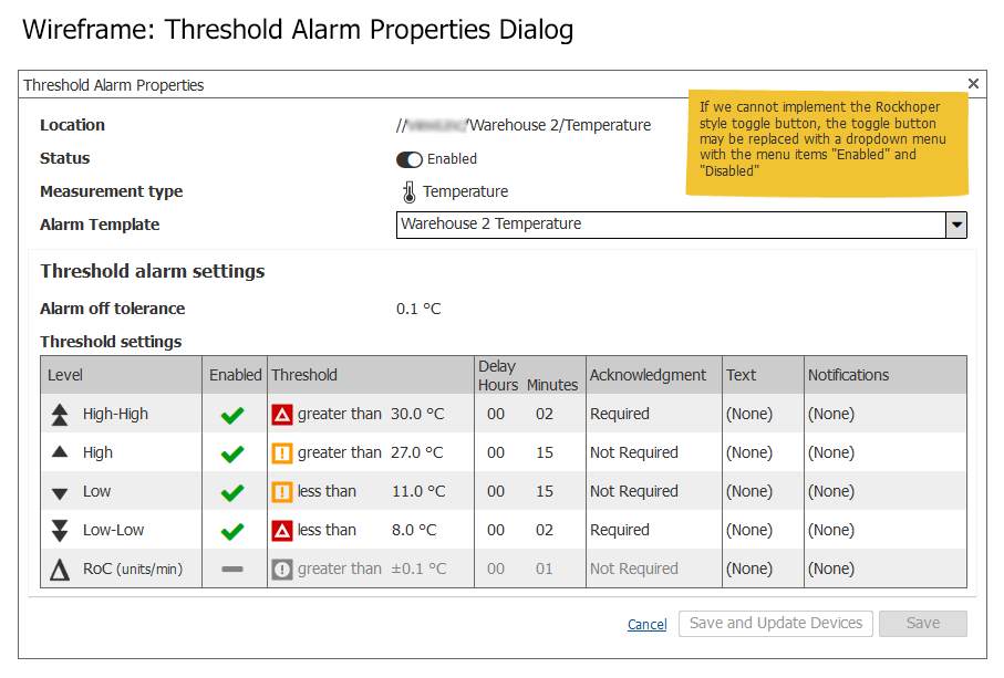 Wireframe: Threshold Alarm Properties Dialog